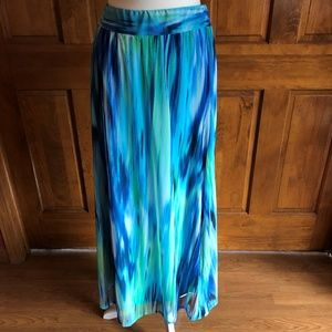 Chico's Blue and Green  Lined Maxi Skirt 0